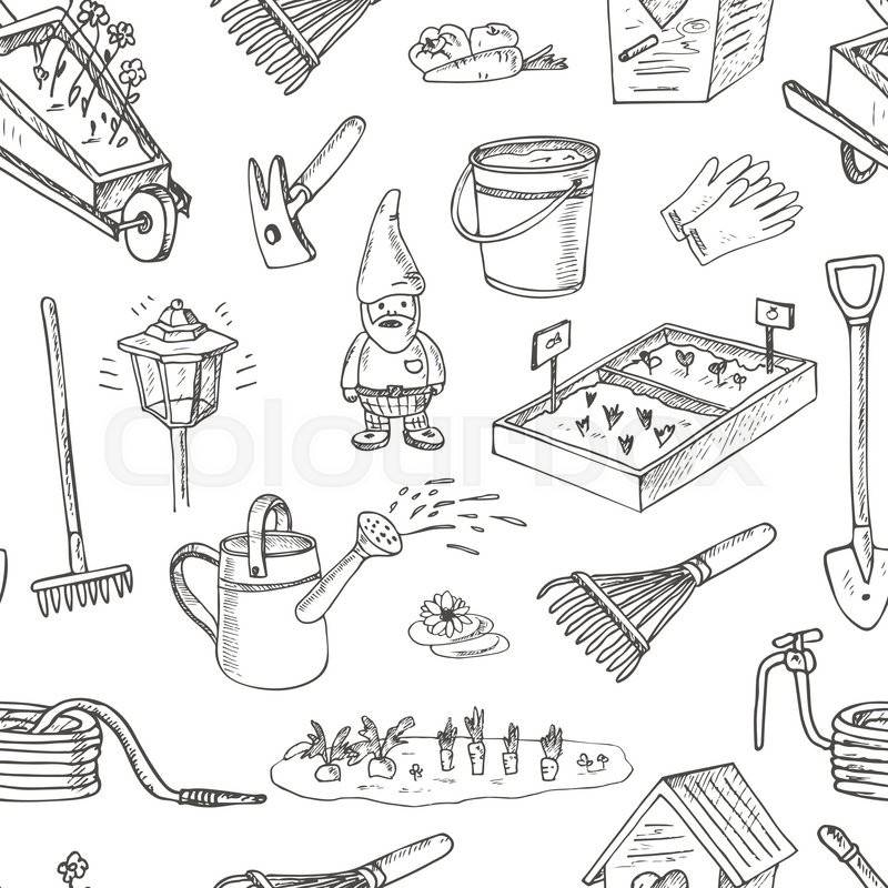 Garden tools seamless pattern. Various ... | Stock Vector ...