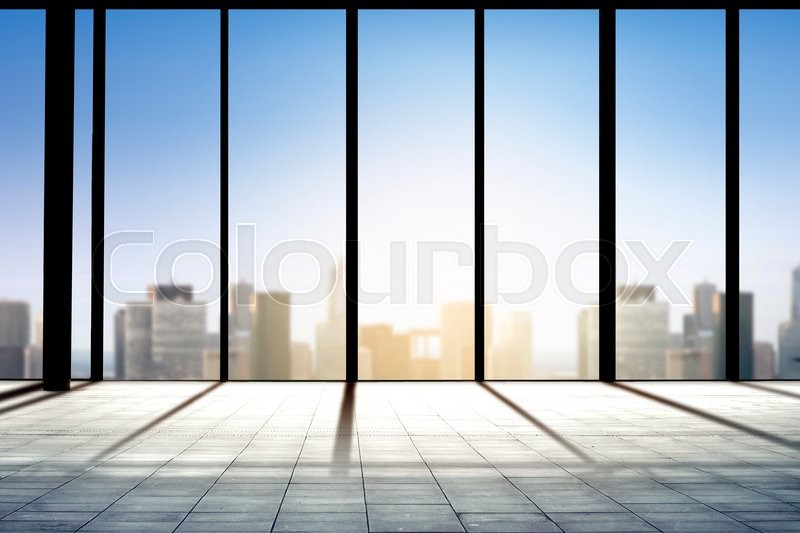 Construction, architecture and building concept - empty business office room or airport terminal over city background, stock photo