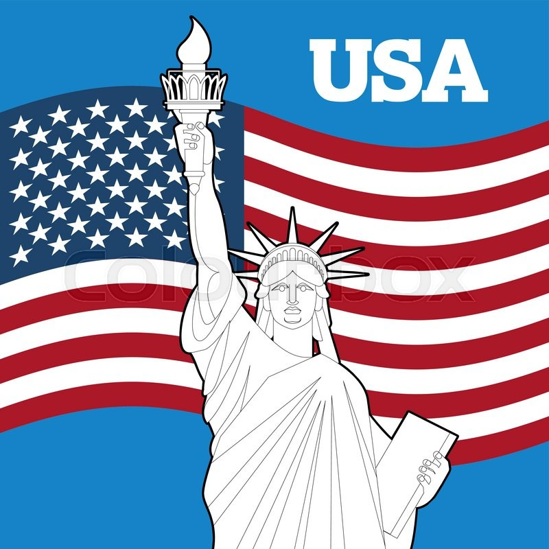 Statue Of Liberty And American Flag Symbol Of Freedom And Democracy