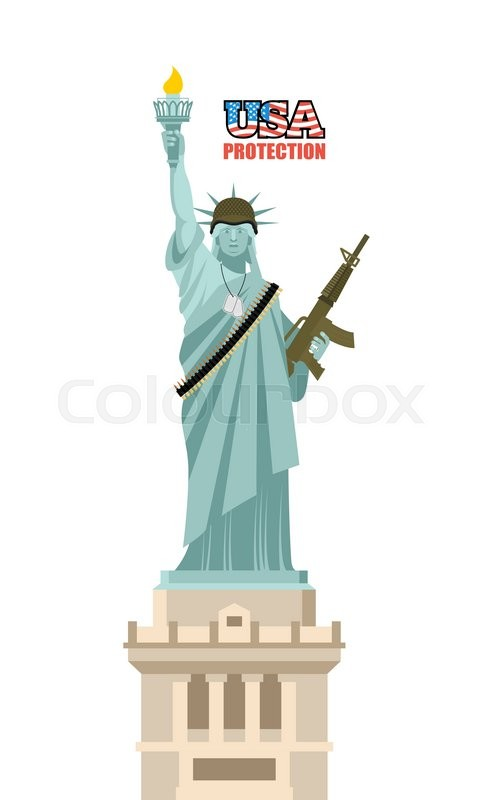 Usa Protection Statue Of Liberty With Gun Symbol Of Democracy And
