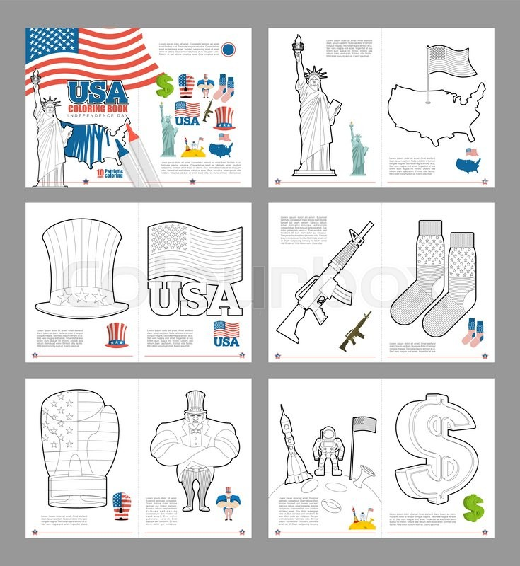 Usa Coloring Book Patriotic Book For Coloring National Symbols