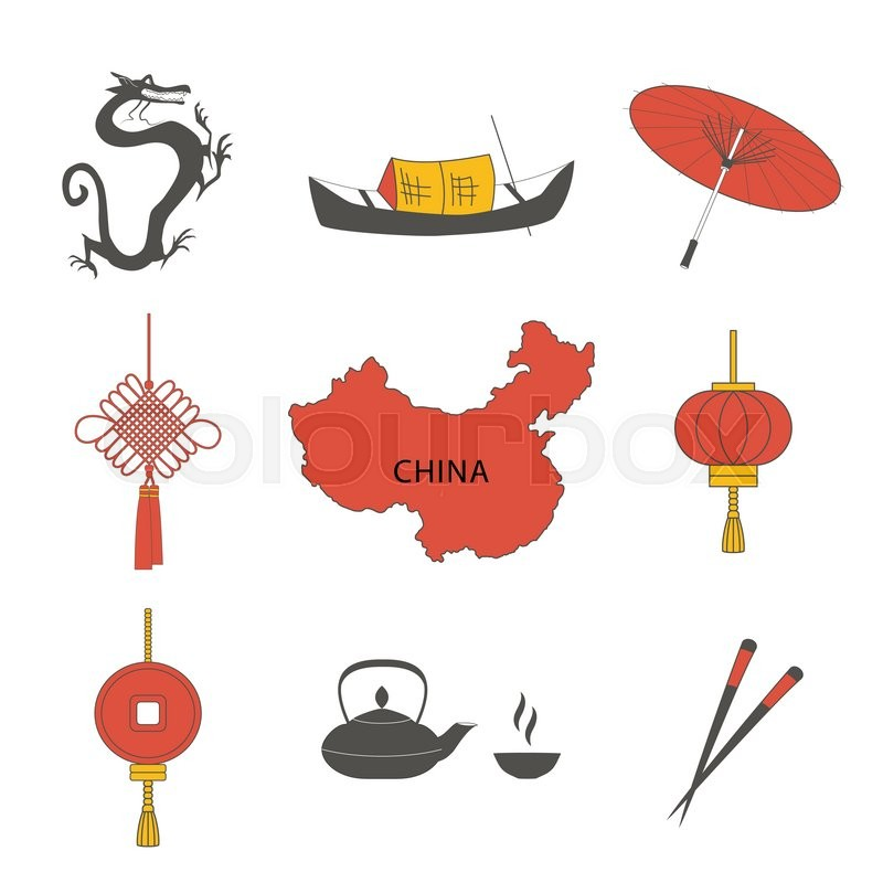 China Travel Asian Traditional Culture Symbols Icons Set Isolated