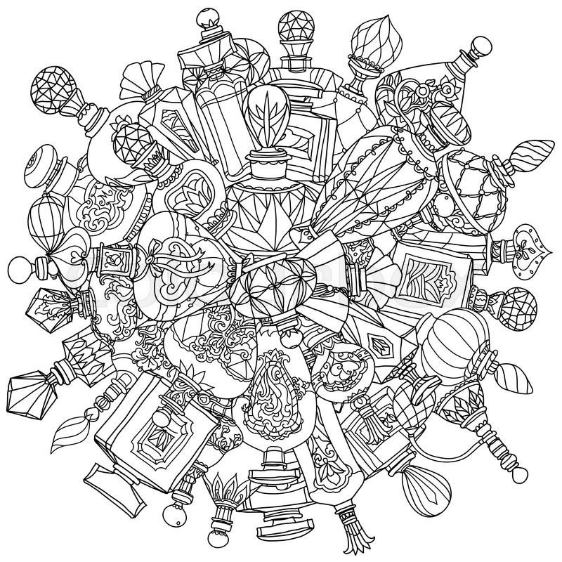 Mandala Of Fantasy Vintage Perfumes For Adult Coloring Book In Zenart Or Zentagle Style Hand Drawn Retro Doodle Vector Zentangle