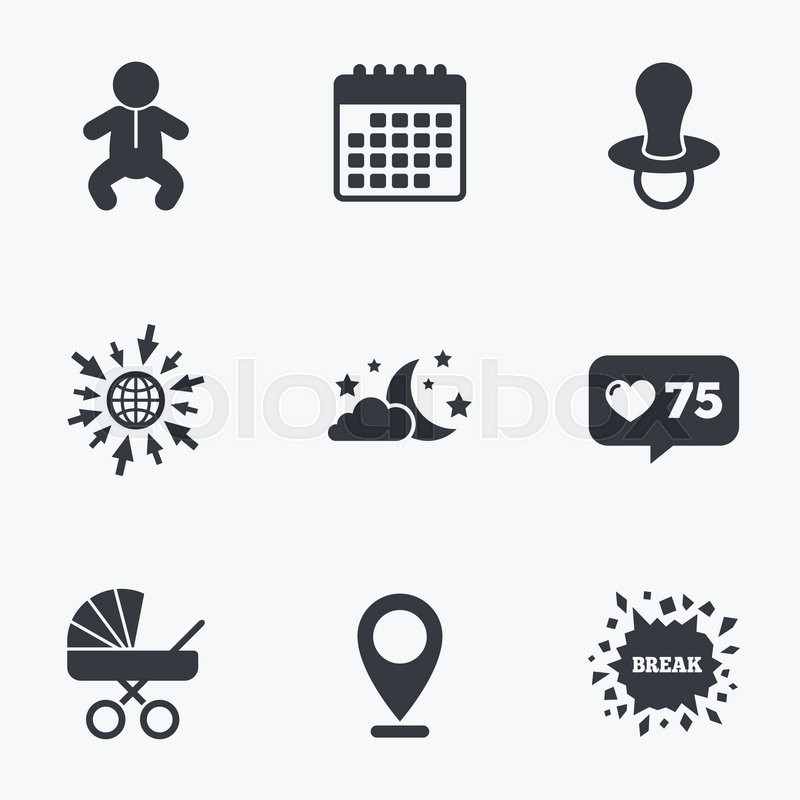 Calendar Like Counter And Go To Web Icons Moon And Stars Symbol