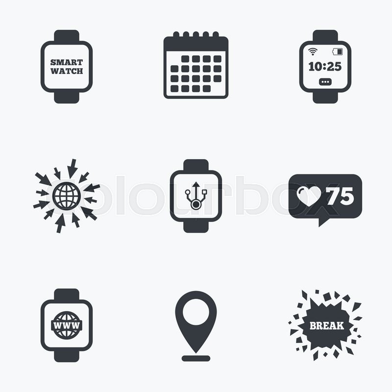 Calendar Like Counter And Go To Web Icons Smart Watch Icons Wrist
