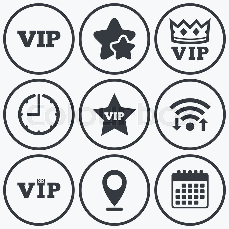 Clock Wifi And Stars Icons Vip Icons Very Important Person