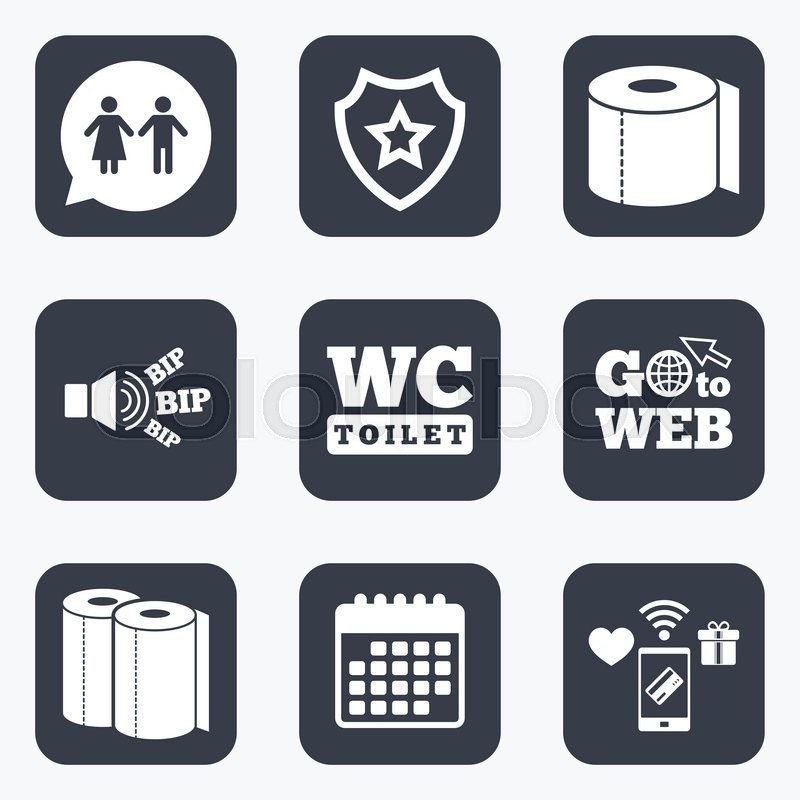 Mobile Payments Wifi And Calendar Icons Toilet Paper Icons Gents