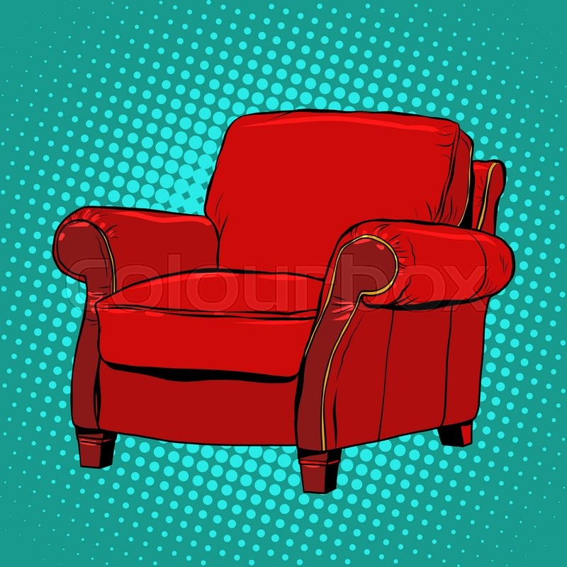 Red armchair furniture vector pop art retro style classic - Sillones retro vintage ...