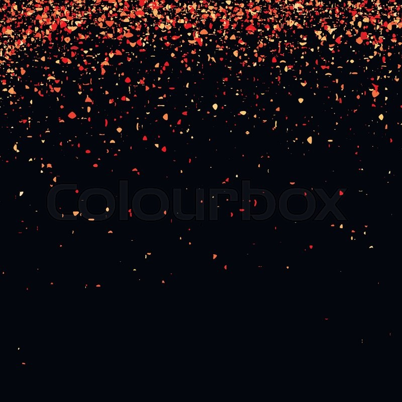red confetti isolated on black background abstract red