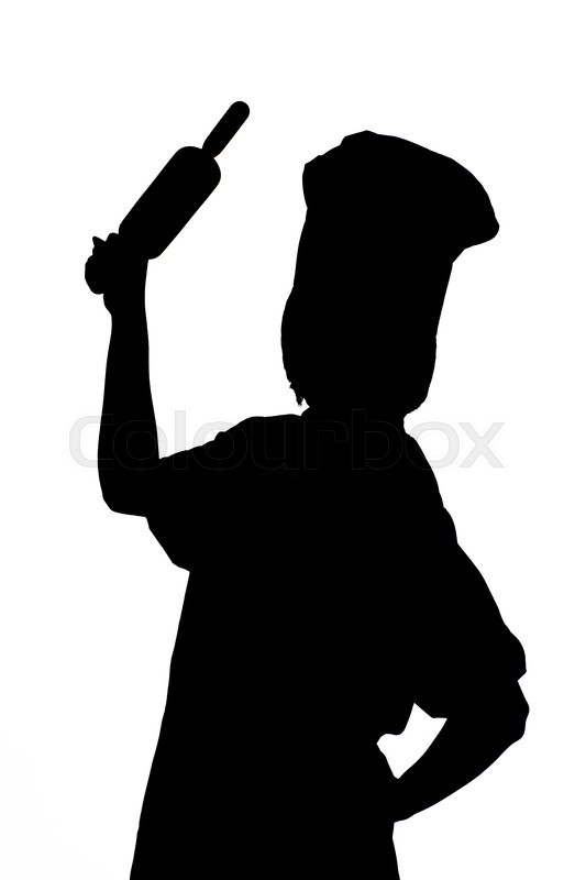 Silhouette Chef woman holding baking rolling pin on white ...