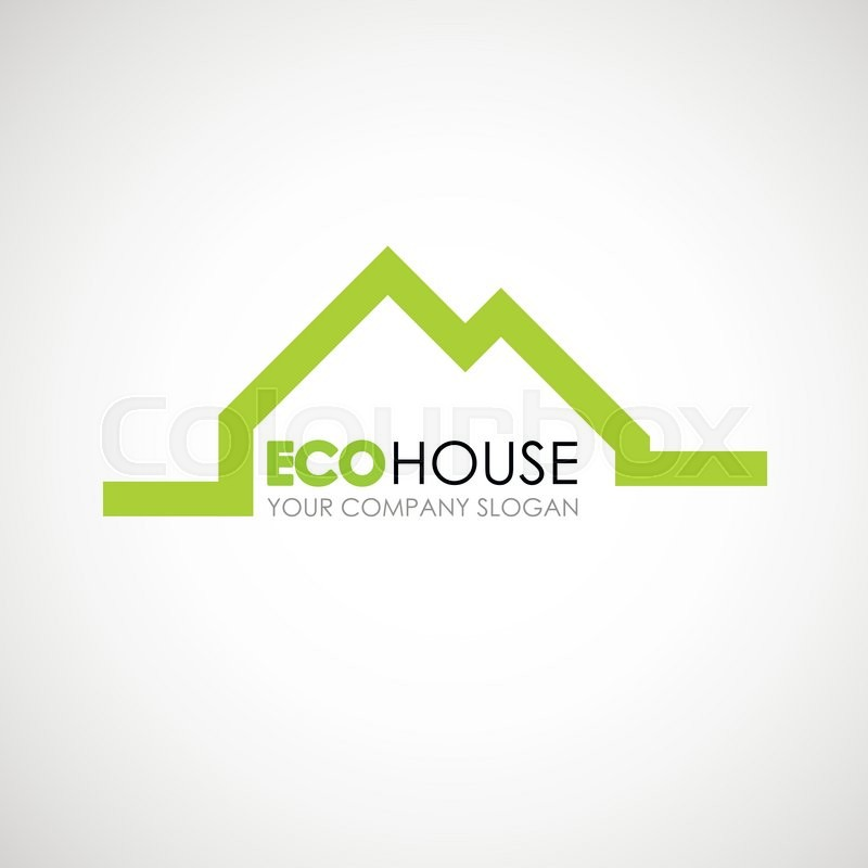 Eco house logo design. Ecological construction idea. Eco ...