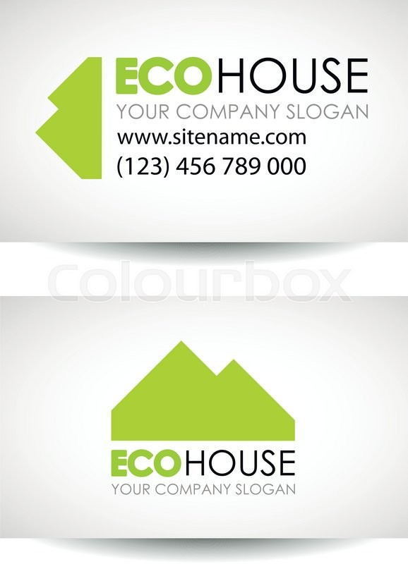 Eco house and real estate logo template eco house business card eco house business card design idea eco architecture and construction business card design template stock vector colourbox colourmoves