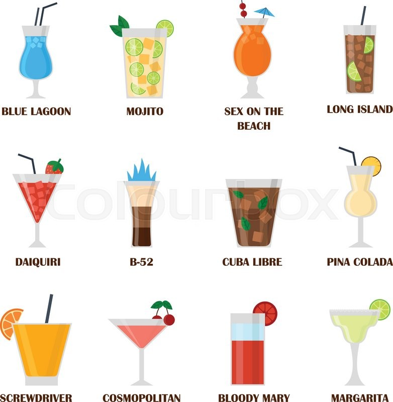 And Drinks Alcohol Beverages Colourbox Vector Stock