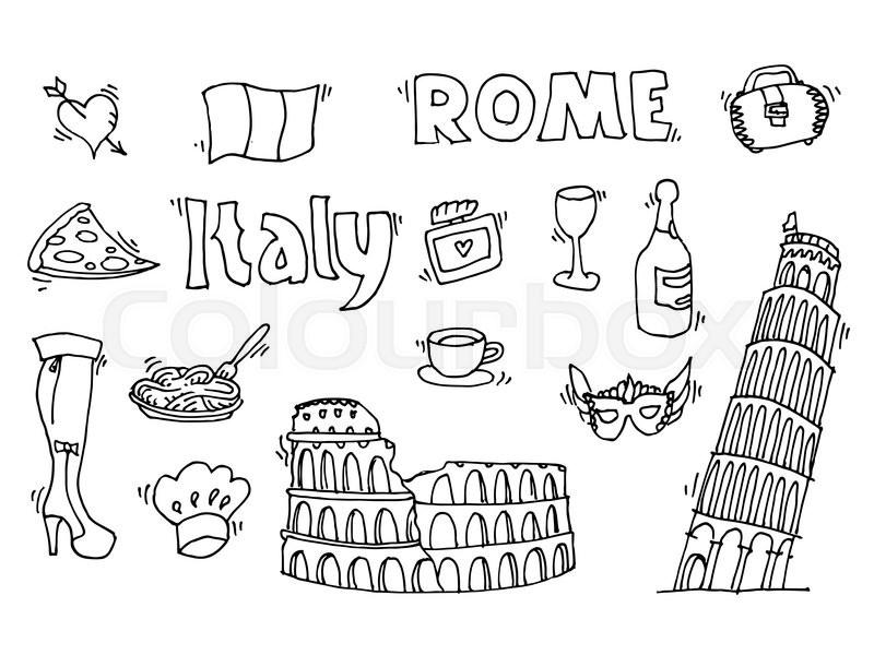 Italy Famous Rome Landmark Food Set Italian Rome Travel Coliseum