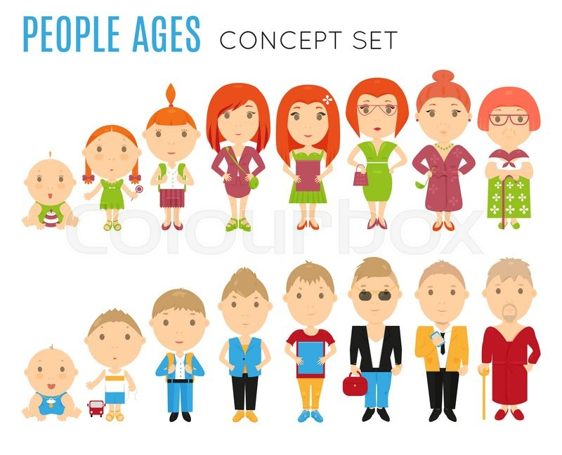 Set Of People Age Flat Icons Vector Life Stage