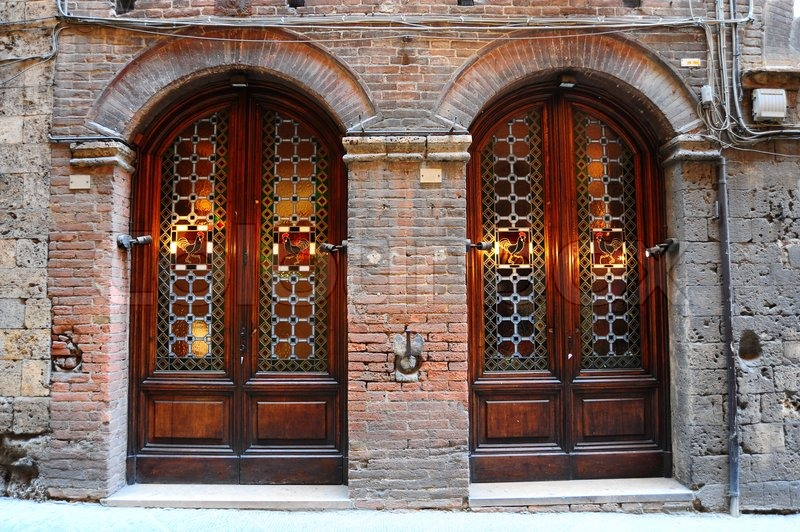 Charmant Close Up Image Of Two Glass Ancient Italian Door | Stock Photo | Colourbox