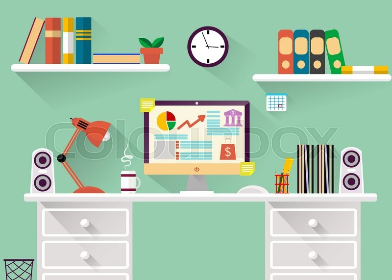 interior of working place concept in flat design office or freelance work concept illustration vector vector - Interior Design Freelance Work