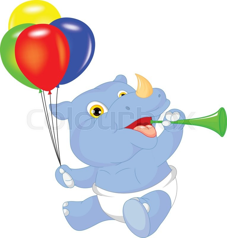 Vector Illustration Of Cute Baby Rhino Cartoon Holding Balloon