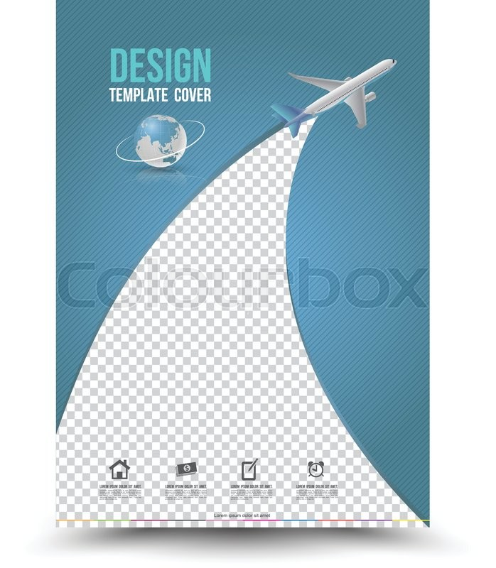 Cover Page Layout Template With Paper Airplane. Vector