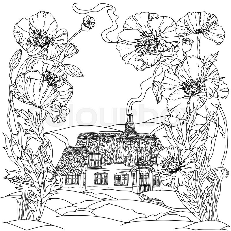 Field Poppies And Victorian House Stock Vector