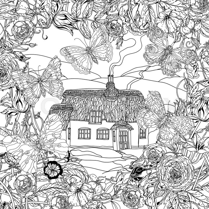 Black And White Flowers Butterflies And Victorian House