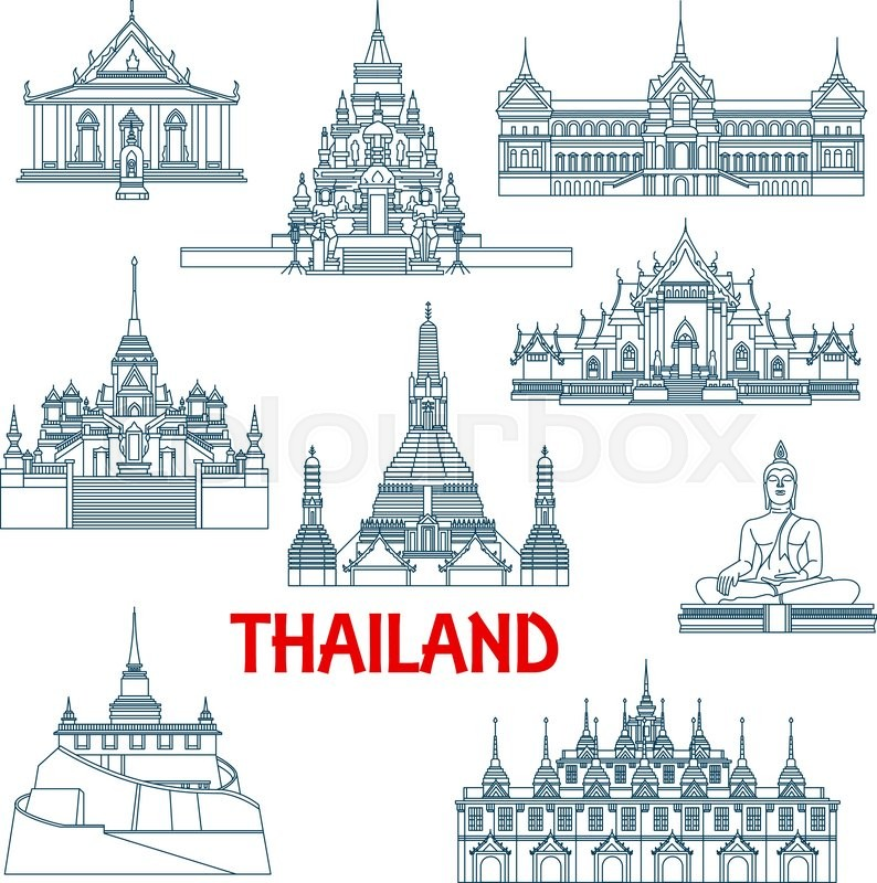 Architecture Travel Landmarks In Thin Line Style Of
