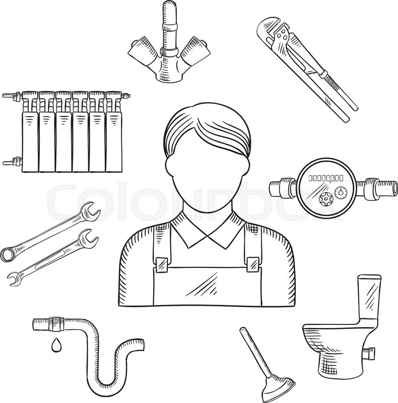 Plumbing Services Sketch Symbol Of Male Plumber In Uniform With