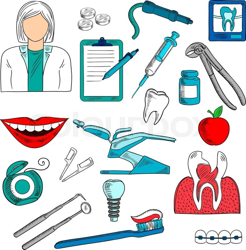 Stock Vector Of Female Dentist With Tools And Equipment As Chair Pills