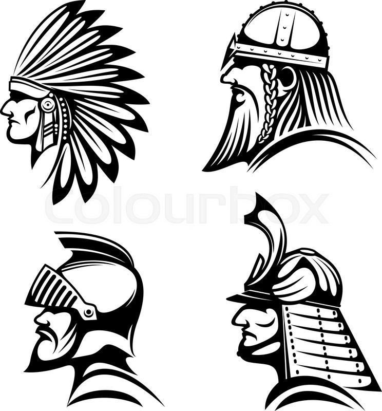 Ancient Warriors In Helmets Icons With Profiles Of Medieval Knight