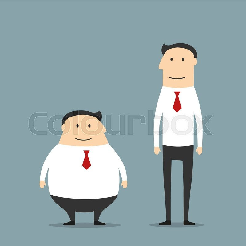 Cartoon Smiling Fat And Skinny Businessmen In Suits May