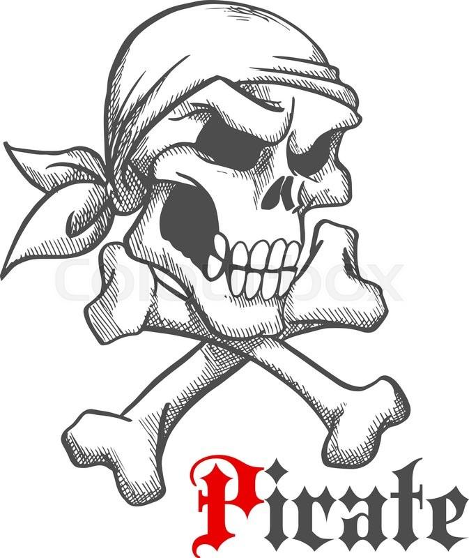 Pirate Captain Skull With Crossbones Vintage Sketch Illustration