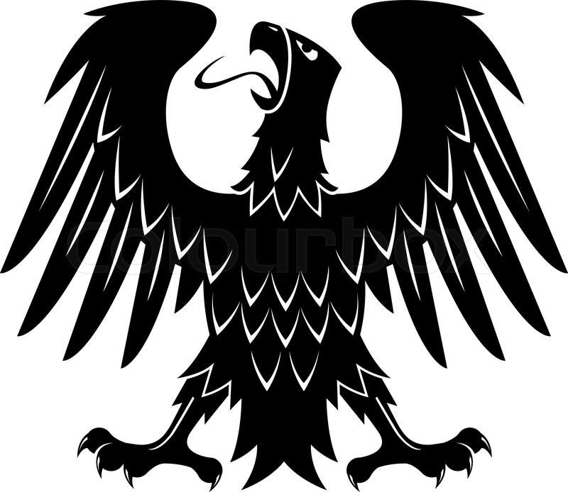 Black Heraldic Silhouette Of Medieval Eagle With Raised Wings