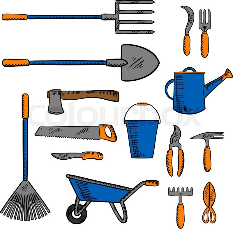 garden tools for gardening and agriculture design with colored