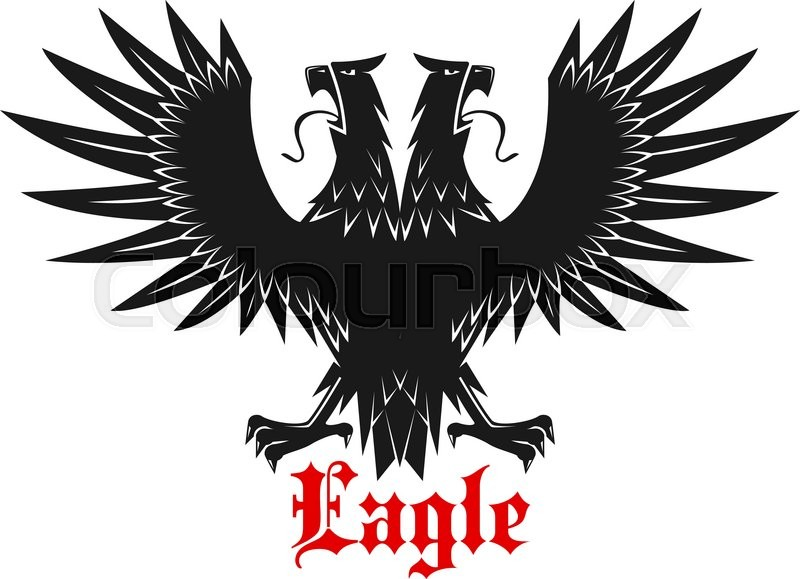 Royal Double Headed Black Heraldic Eagle Symbol With Outstretched