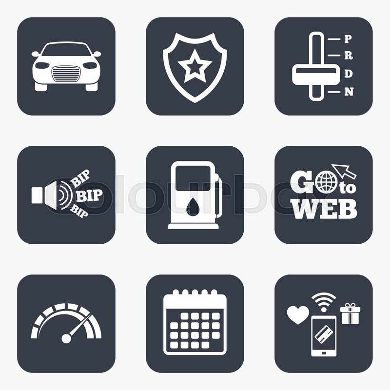Mobile Payments Wifi And Calendar Icons Transport Icons Car
