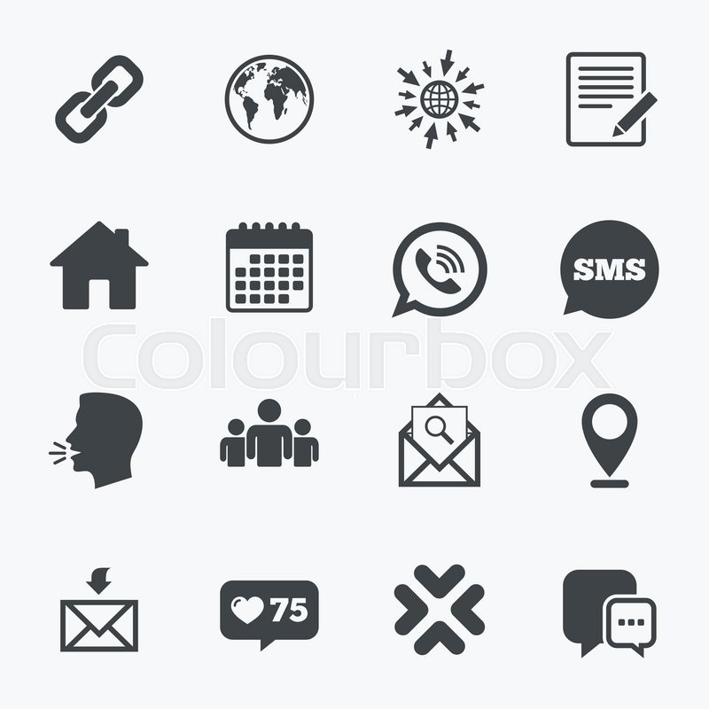 Calendar Go To Web And Like Counter Communication Icons Contact