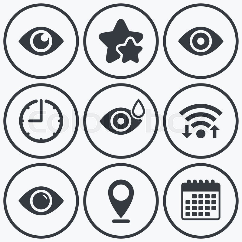 Clock Wifi And Stars Icons Eye Icons Water Drops In The Eye