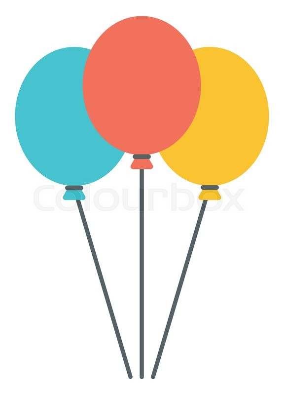 Colourful Birthday Or Party Balloons Vector Flat Design