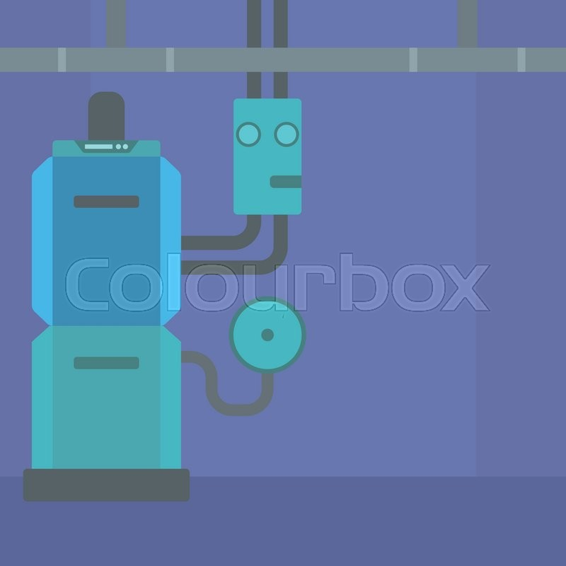 Background of domestic household boiler room with heating system and ...