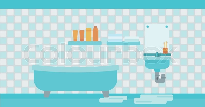 Background Of Leaking Sink In The Bathroom Vector Flat Design Illustration Horizontal Layout