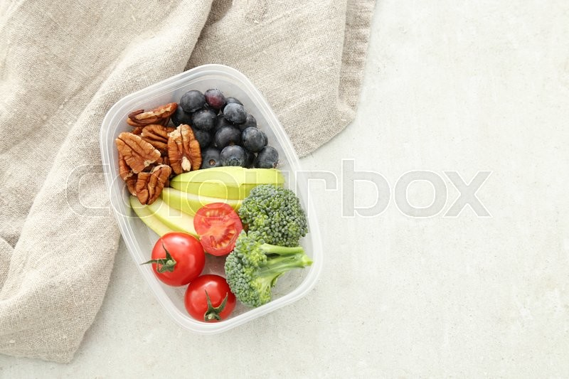 Healthy food. Lunch box on the table, stock photo