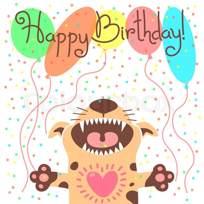 cute happy birthday card with funny puppy vector illustration