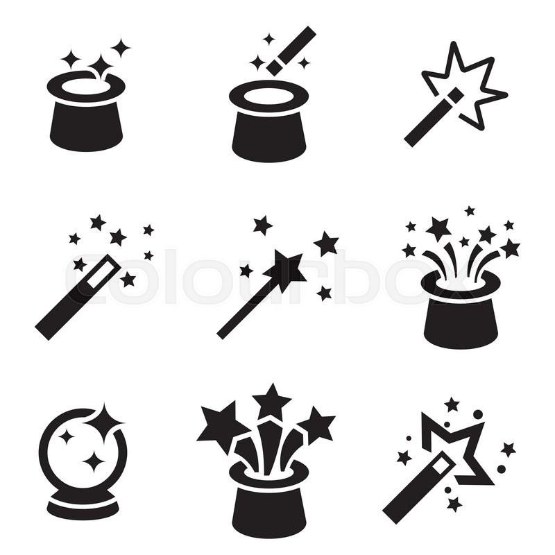 Vector black magic icons set. Magic Icon Object, Magic ...