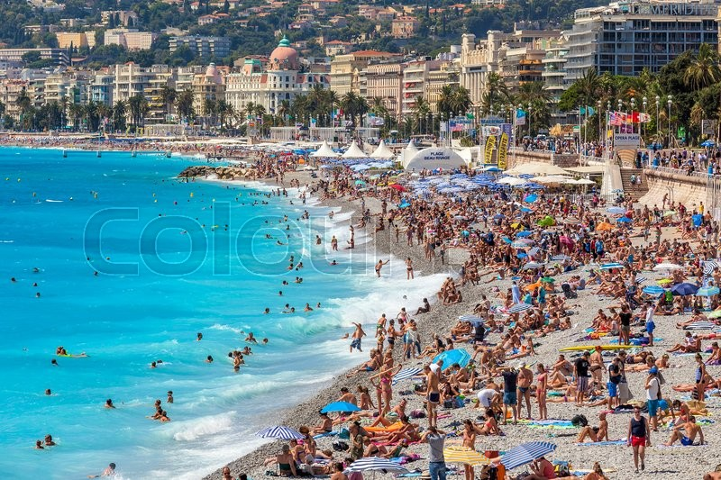 nice france august 23 2014 people on the beach of nice fifth