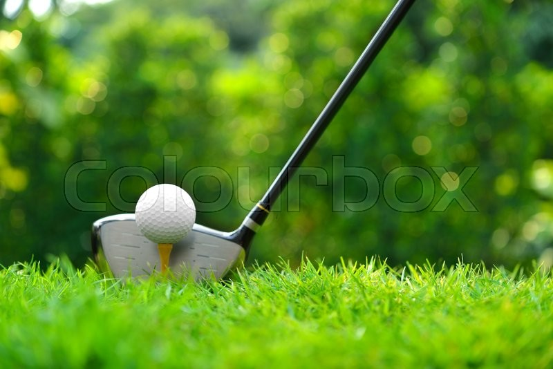 Golf ball on green grass ready to be struck on golf course background, stock photo
