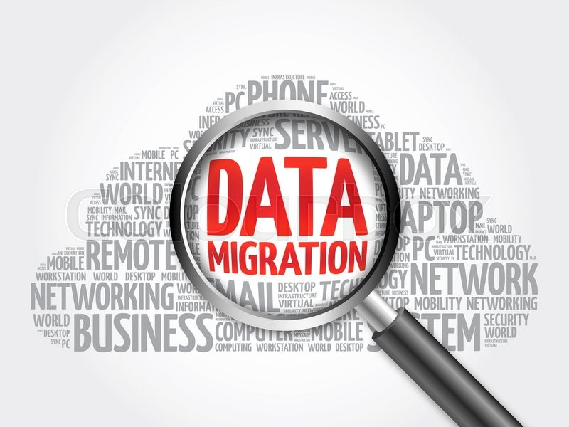 Data Migration word cloud with magnifying glass, business concept, stock photo