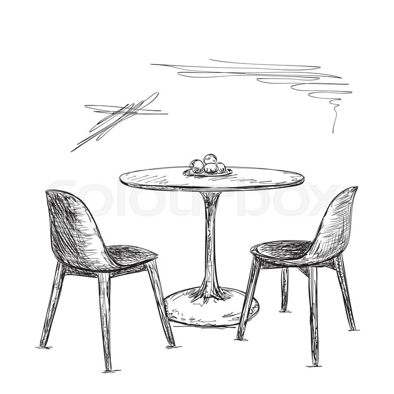 Hand drawn cafe or kitchen interior table and chair for Table design sketch