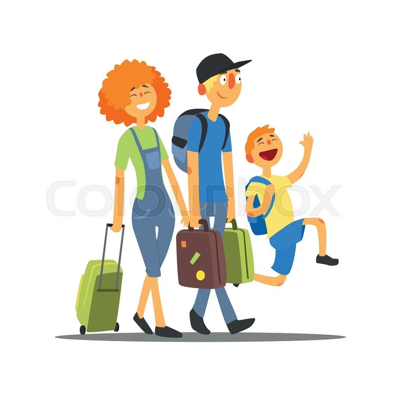 Travelling Family Going On Vacation Primitive Flat Vector Drawing In Simple Cartoon Style White Background