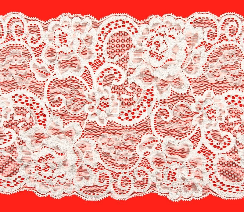 White Lace With A Floral Pattern On Red Background