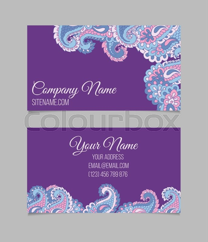 Double-sided business card template. Asian Paisley violet vector ...